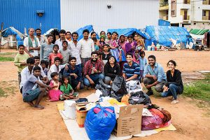 clothes distribution drive in Bangalore