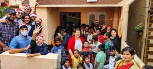 Volunteers celebrating Christmas with a school for differently abled children